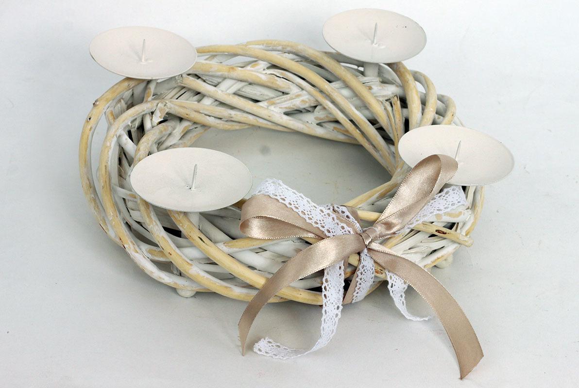 Artium Adventní svícen s mašlí 25cm Barva: bílá