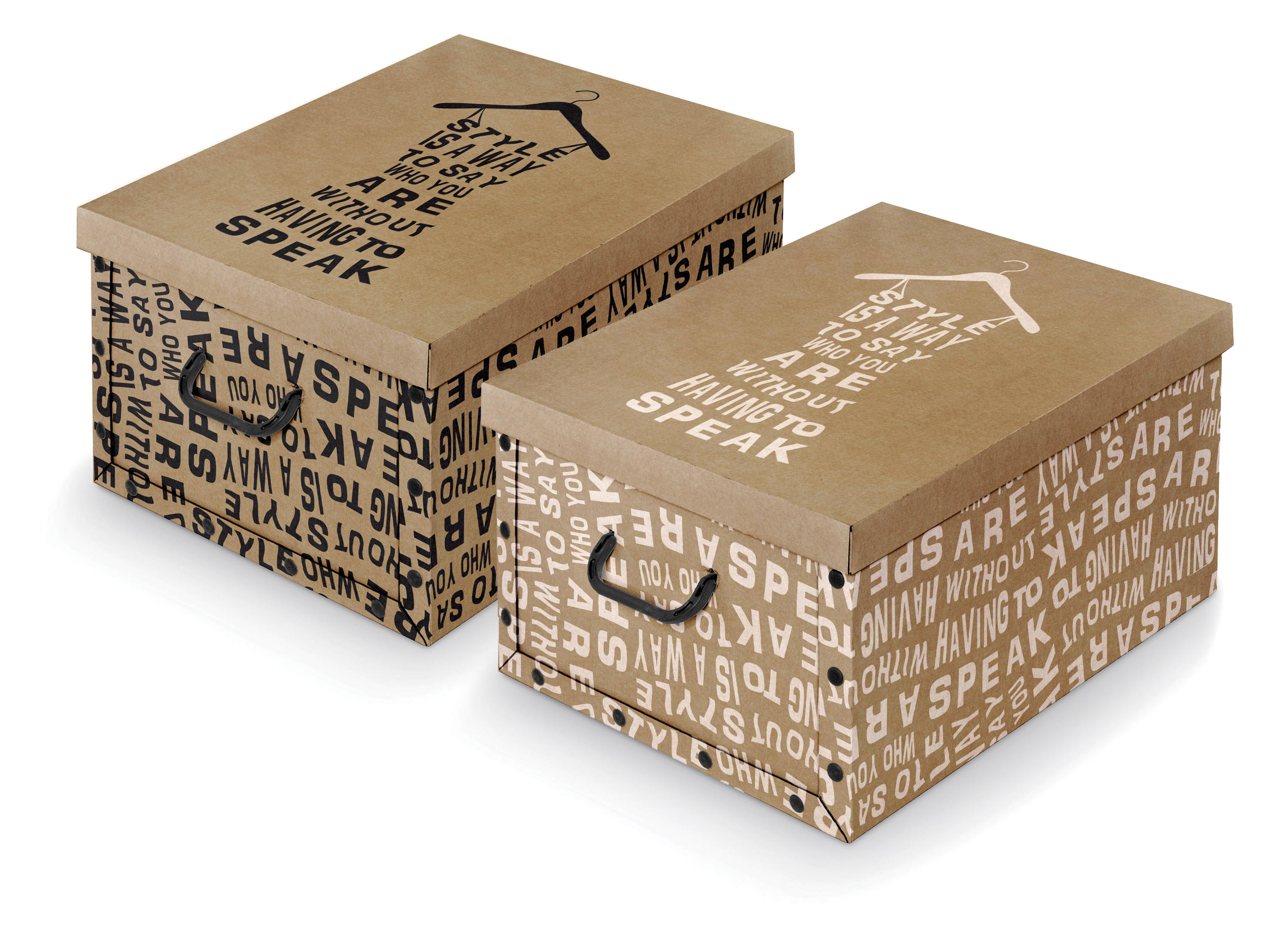DOMOPAK Living Úložný box s rukojetí s nápisy Barva: bílá