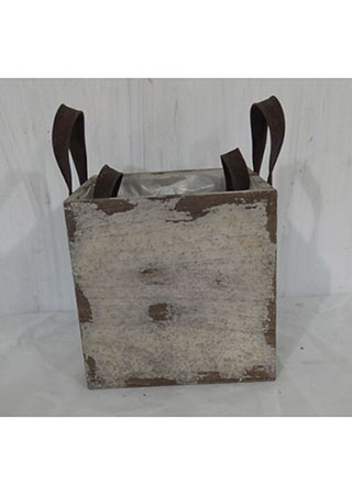 Truhlík dřevěný s igelitem barva béžovohnědá antik sada 2ks