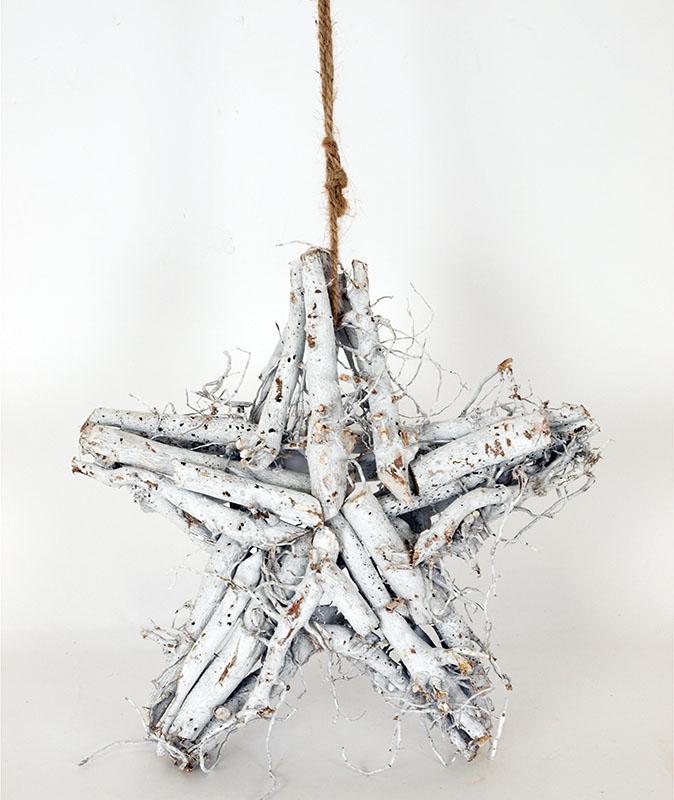 Artium Hvězda z větví bílá 25x25cm
