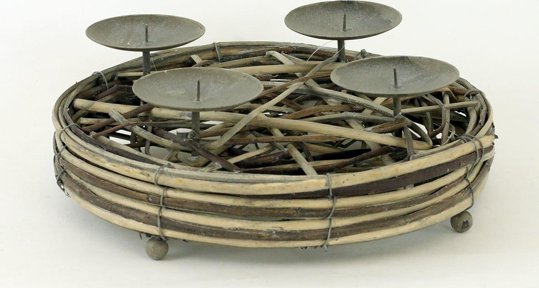 Artium Adventní svícen proutěný antique hnědá 30cm