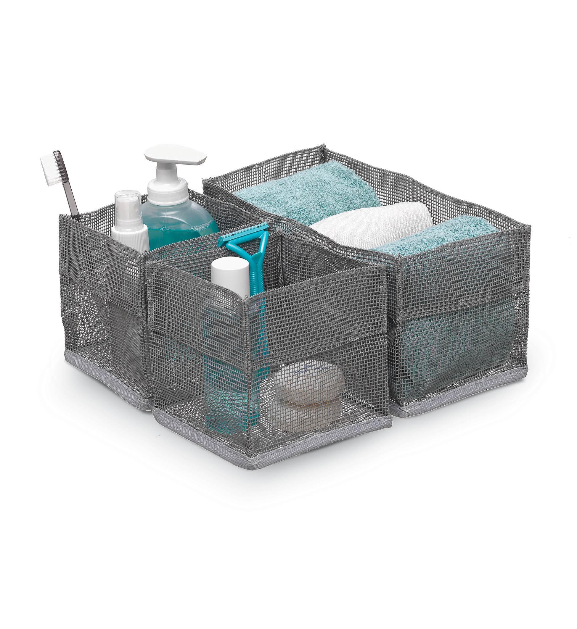 DOMOPAK Living Sada 3ks čtvercových organizérů do koupelny Barva: šedá