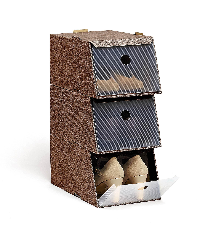 DOMOPAK Living Úložné boxy na boty sada 3ks Barva: hnědá