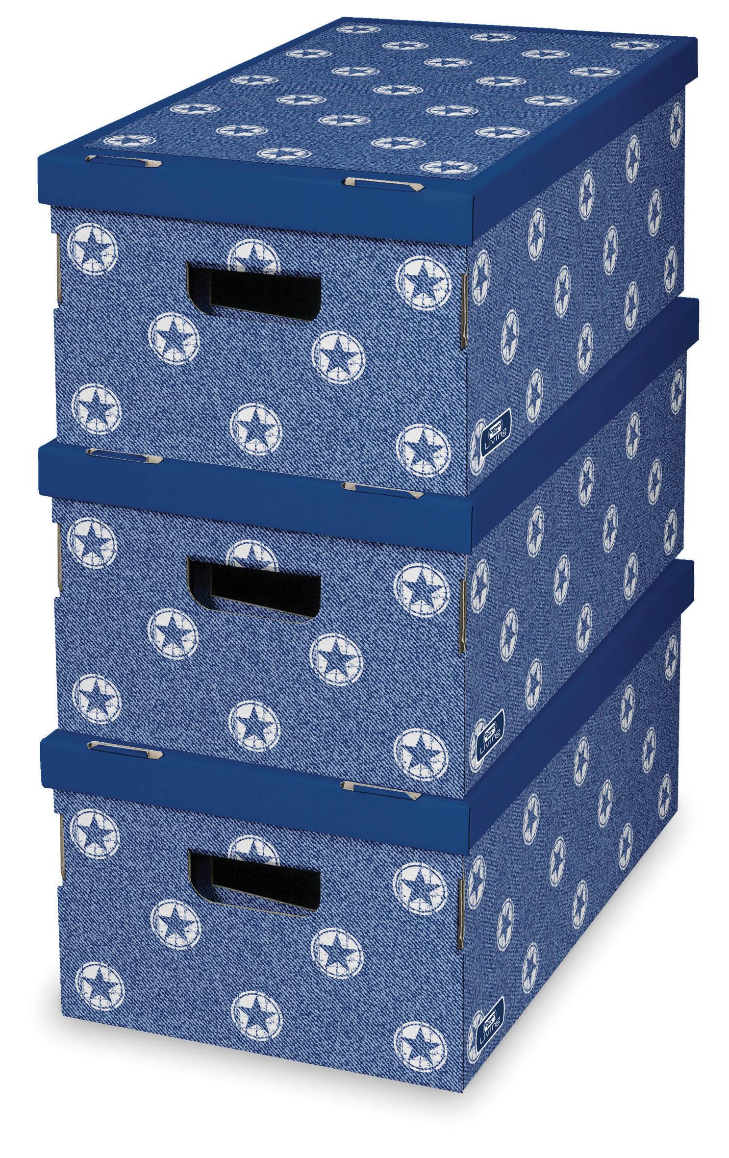 DOMOPAK Living Úložný box modrý set 3ks