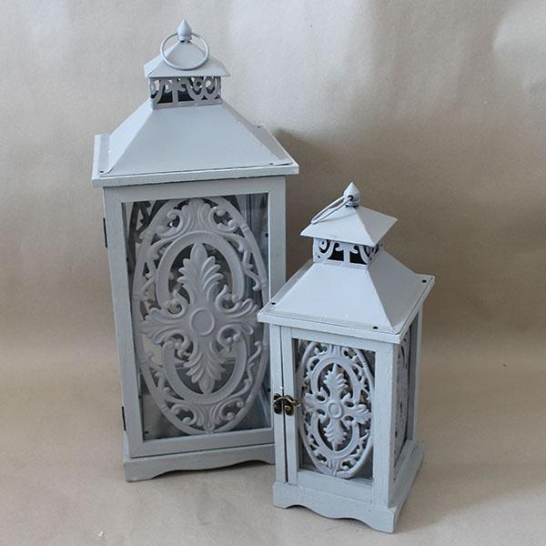Casa de Engel Dřevěná lucerna šedá sada 2ks