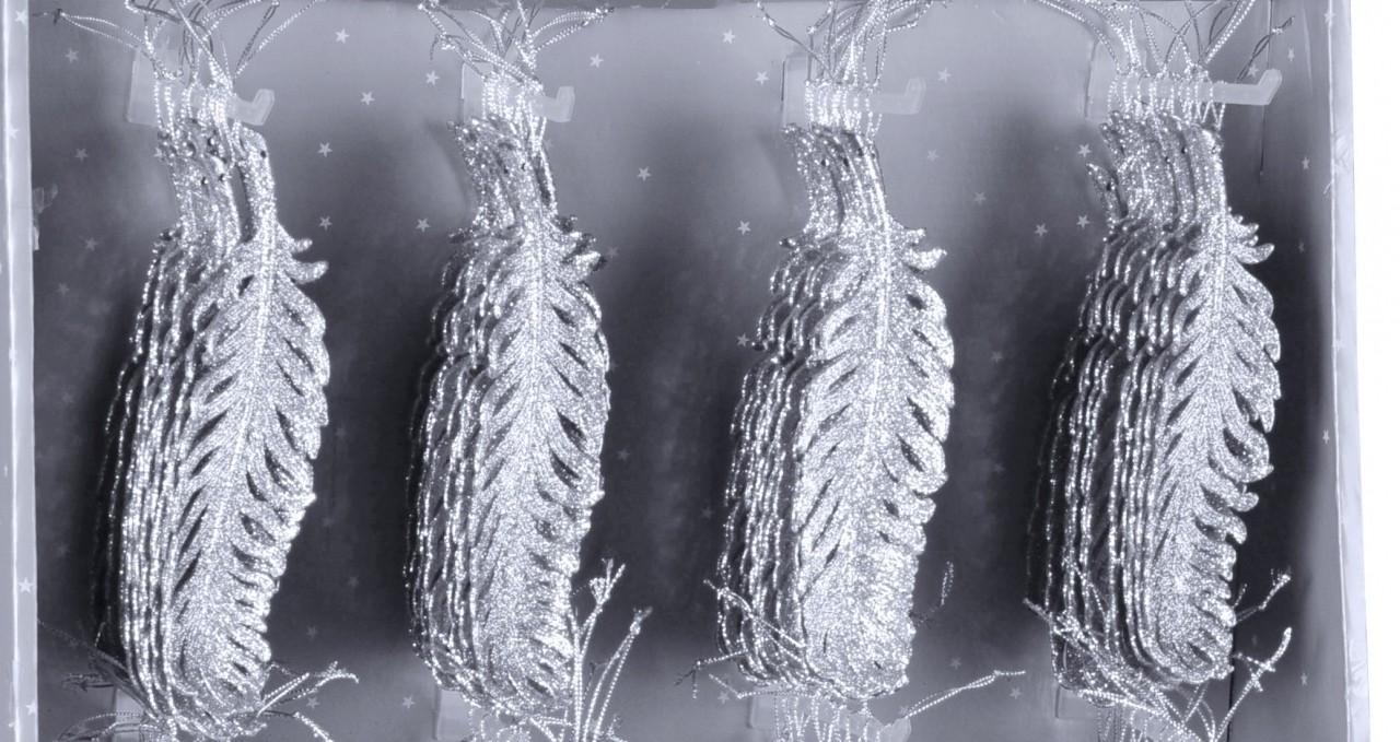 HR Peří vánoční se třpytkami 19cm Barva: stříbrná