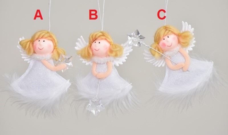 Harasim Látkový anděl bílý 9cm Provedení: A