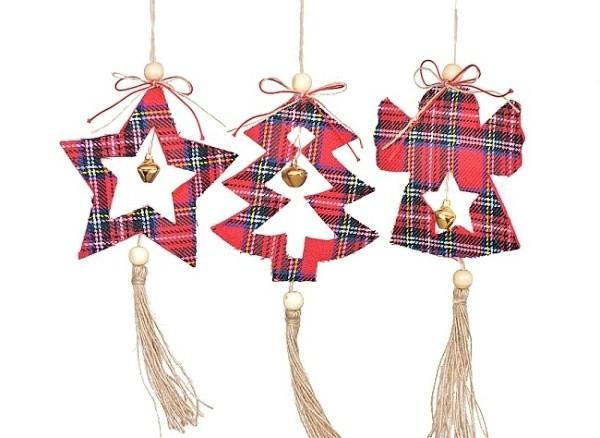 Harasim Závěsná vánoční dekorace-kostkovaná S motivem: hvězda