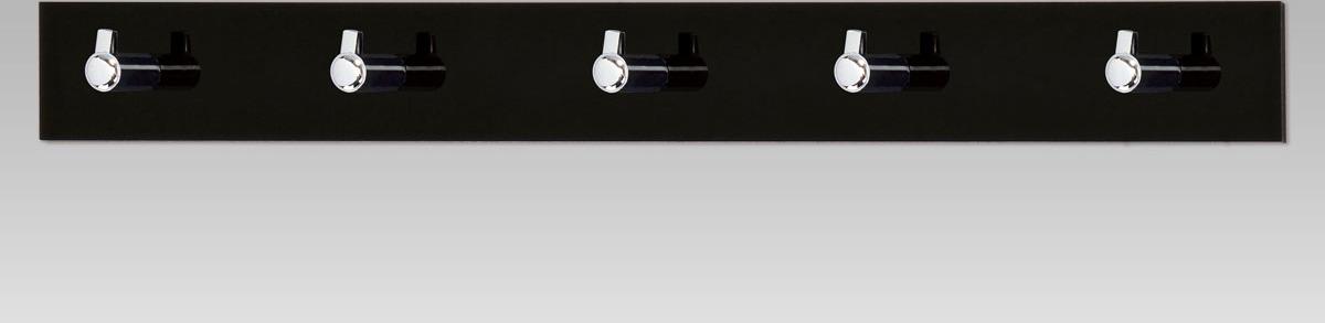Nástěnný věšák - 5 háčků - bílý akrylát Barva: černá