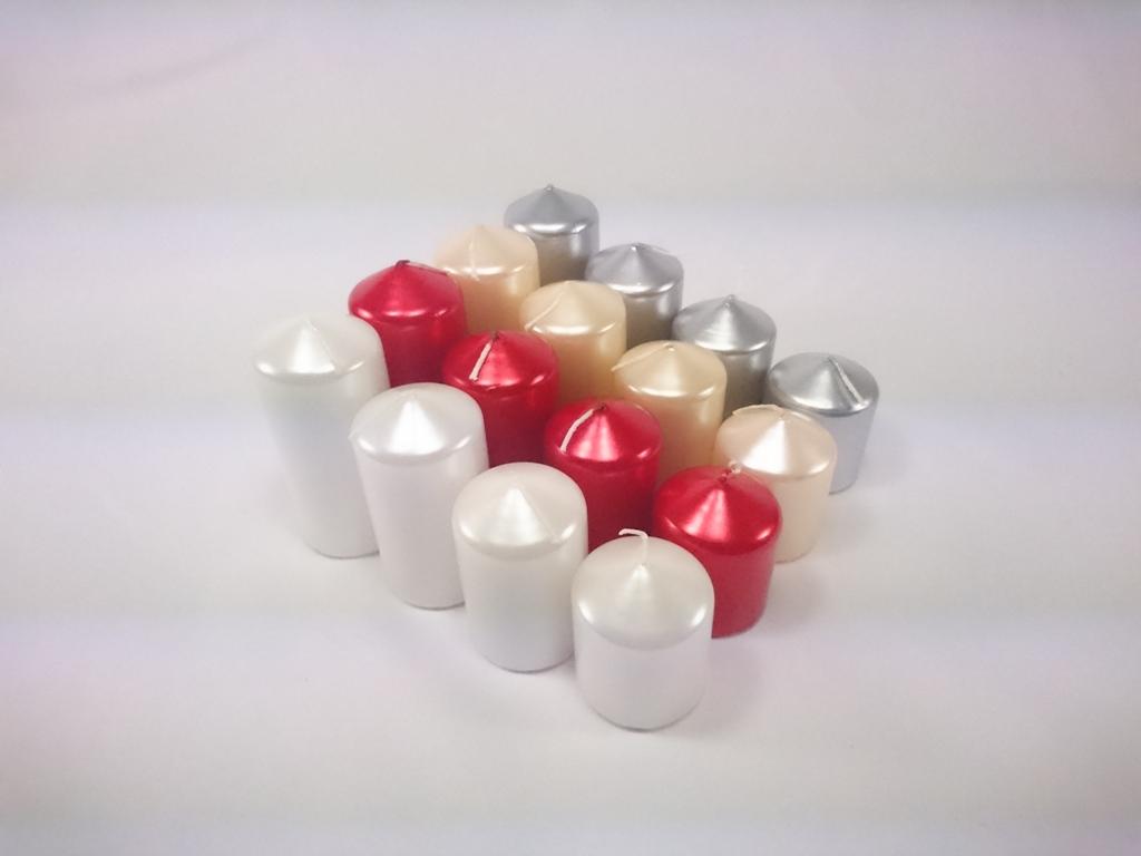 Bartek Candles Adventní svíčky | kaskáda | sada 4ks Barva: stříbrná