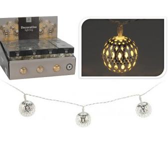 Světelný řetěz LED|koule|stříbrné