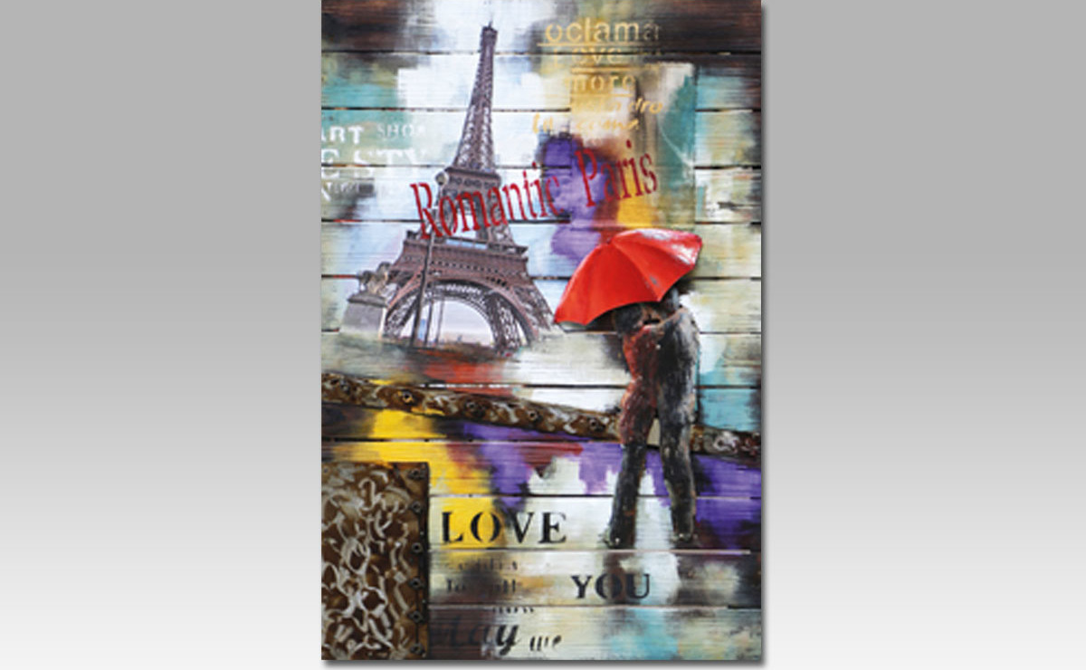 Artium Obraz na dřevě | ručně malovaný | Paříž