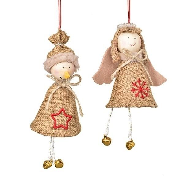 Dekorace vánoční |z juty S motivem: anděla