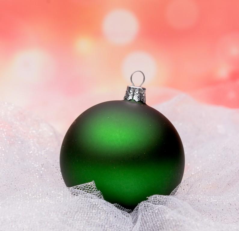 Slezská tvorba Skleněná koule | stříbřená | tmavě zelený mat Velikosti: 4cm - 12 ks