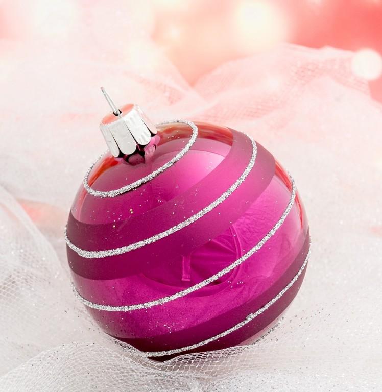 Slezská tvorba Skleněná koule | tmavě fialová | dekor Velikosti: 6cm - 6 ks