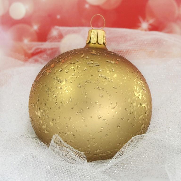 Slezská tvorba Skleněná koule | tmavě zlatý mat | dekor Velikosti: 6cm - 6 ks