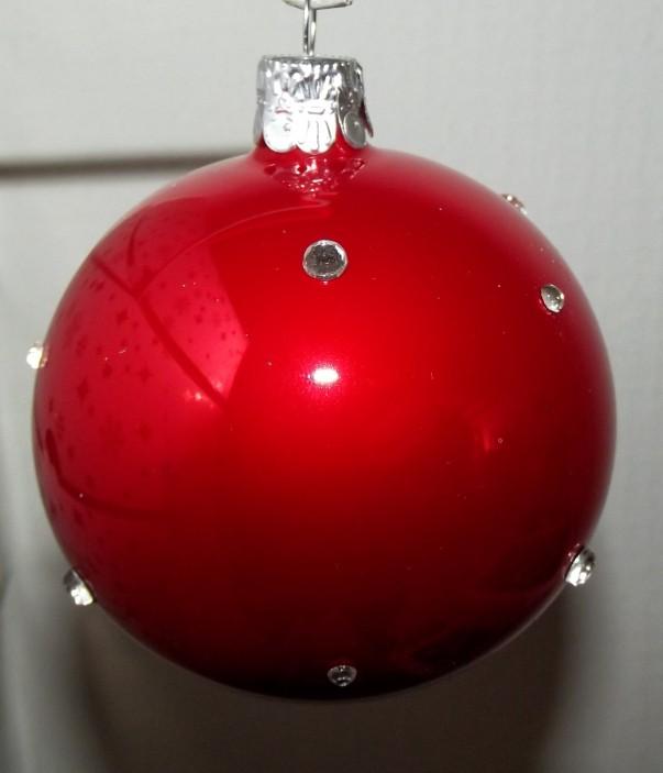 Slezská tvorba Skleněná koule | červený porcelán | dekor se šatony Velikosti: 6cm - 6 ks
