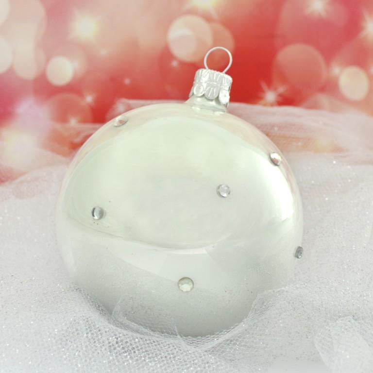 Slezská tvorba Skleněná koule | bílý porcelán | dekor se šatony Velikosti: 6cm - 6 ks