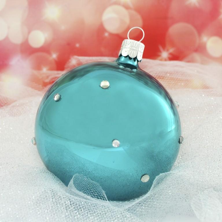 Slezská tvorba Skleněná koule | tyrkysový porcelán | dekor se šatony Velikosti: 6cm - 6 ks