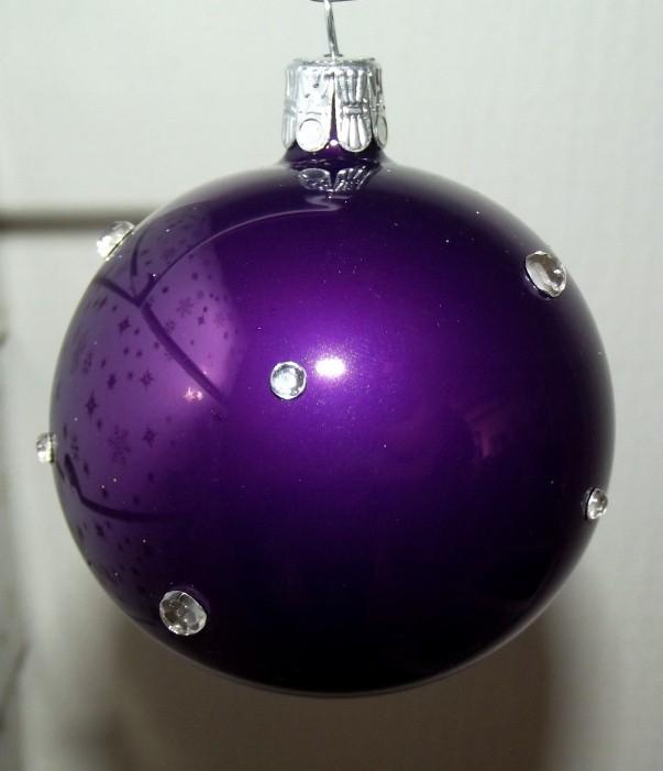 Slezská tvorba Skleněná koule | fialový porcelán | dekor se šatony Velikosti: 6cm - 6 ks