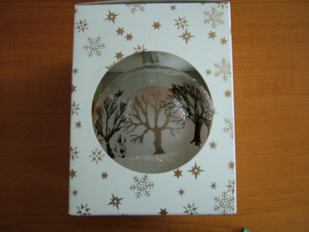 Slezská tvorba Skleněná koule | průhledná | lesk | stromy Velikosti: 8cm - 1 ks