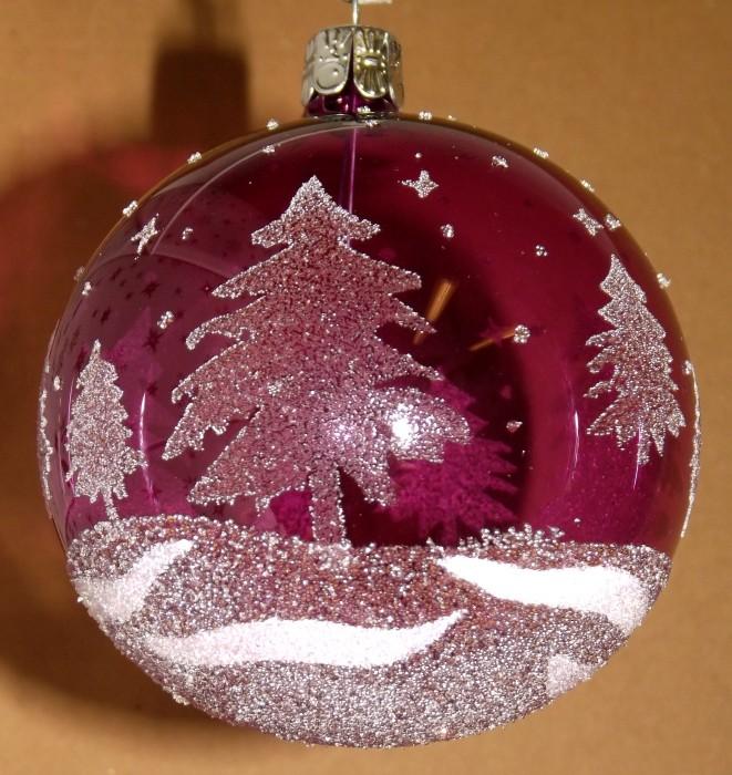 Slezská tvorba Skleněná koule | průhledná | fialová | bílé stromy Velikosti: 7cm - 6 ks
