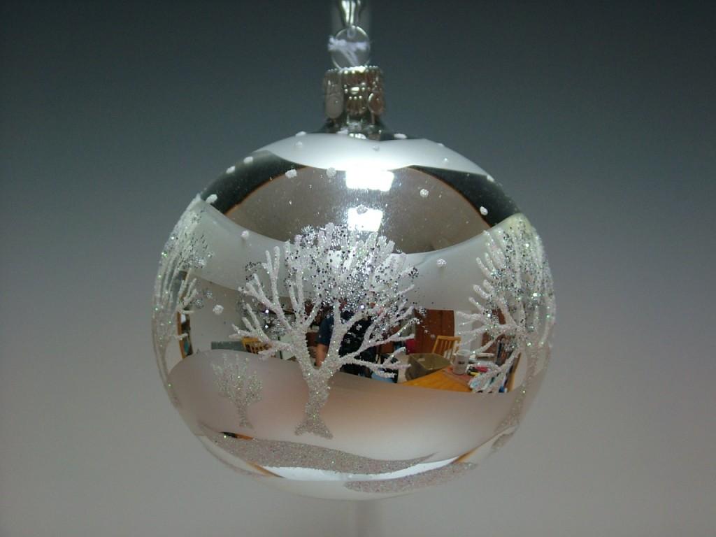 Slezská tvorba Skleněná koule | stříbrná | stromy Velikosti: 7cm - 6 ks