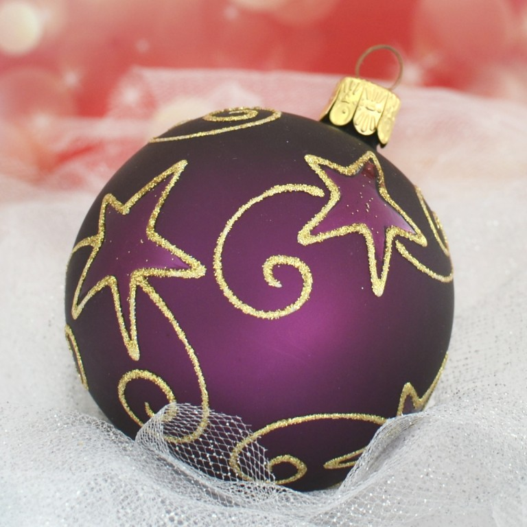 Slezská tvorba Skleněná koule | tmavě fialový mat | hvězdné spirály Velikosti: 6cm - 6 ks