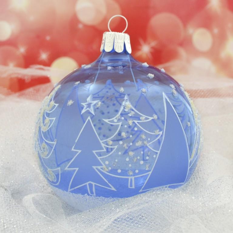 Slezská tvorba Skleněná koule | modrý lak | stromy Velikosti: 8cm - 3 ks