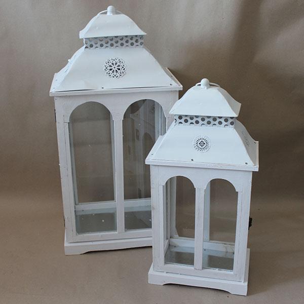 Casa de Engel Dřevěná lucerna | bílá set 2ks