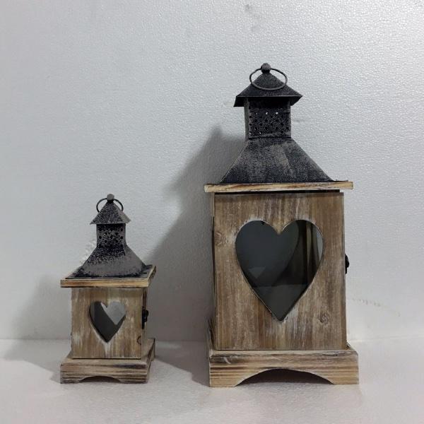 Casa de Engel Dřevěná lucerna | hnědá set 2ks S motivem: B