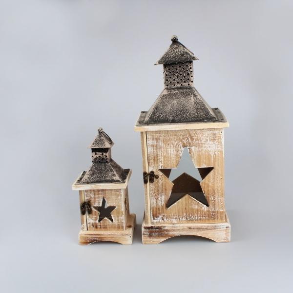 Casa de Engel Dřevěná lucerna | hnědá set 2ks S motivem: A