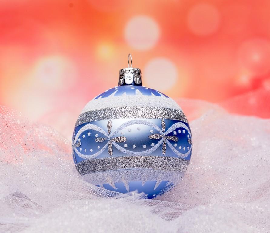 Slezská tvorba Skleněná koule   světle modrá   retro   bílé detaily