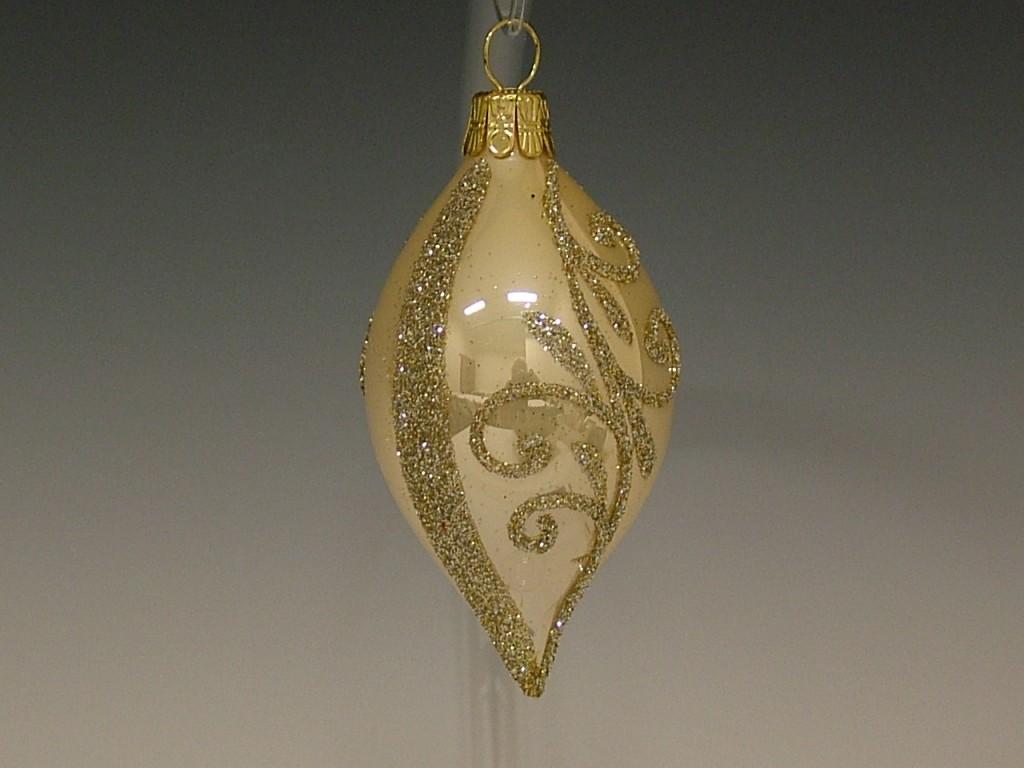 Slezská tvorba Skleněná oliva | krémový porcelán | zlaté spirály