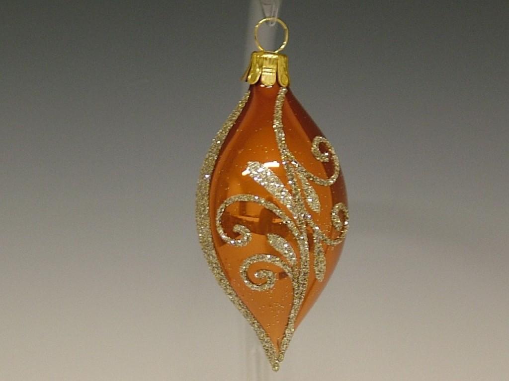 Slezská tvorba Skleněná oliva | skořicově hnědý porcelán | zlaté spirály