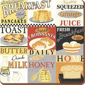 Creative Tops Korkové prostírání Retro Breakfast Rozměry: 10x10cm - 4ks