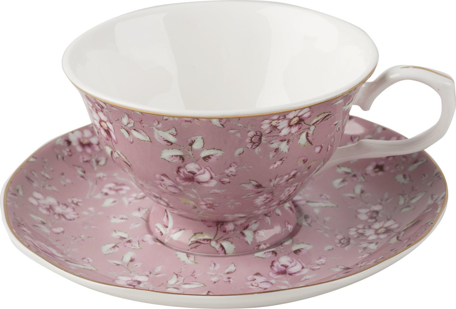 Creative Tops Porcelánový hrnek s podšálkem Ditsy růžový