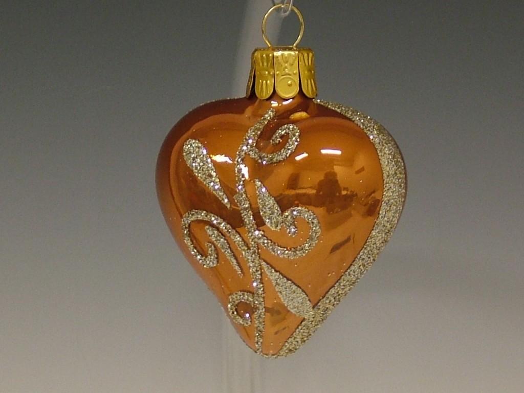 Slezská tvorba Skleněné srdce | skořicově hnědý porcelán | zlaté spirály