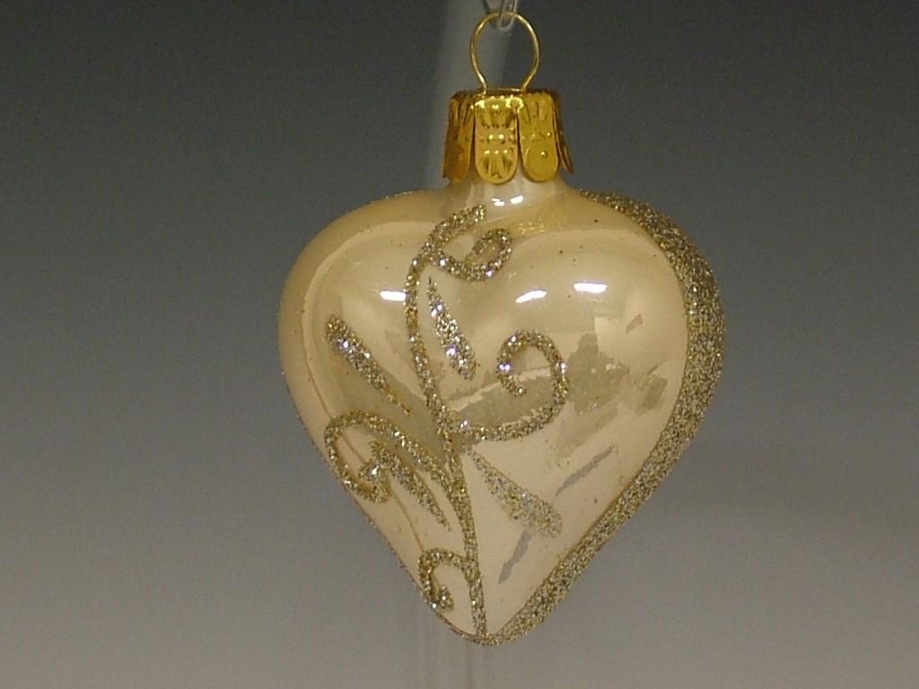 Slezská tvorba Skleněné srdce | krémový porcelán | zlaté spirály
