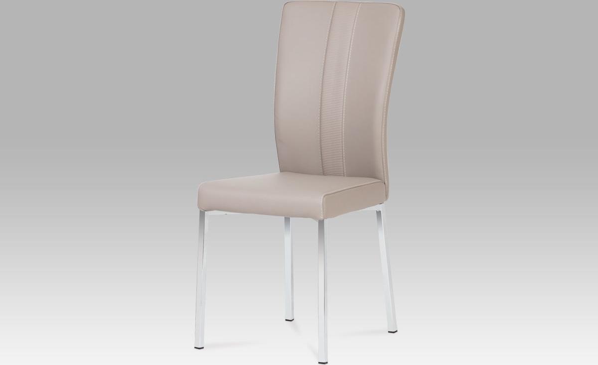 Jídelní židle | chrom | koženka | 43x45x97x48cm Barva: lanýžová
