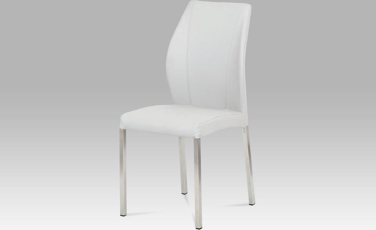 Artium Jídelní židle | koženka | broušený nerez Barva: bílá