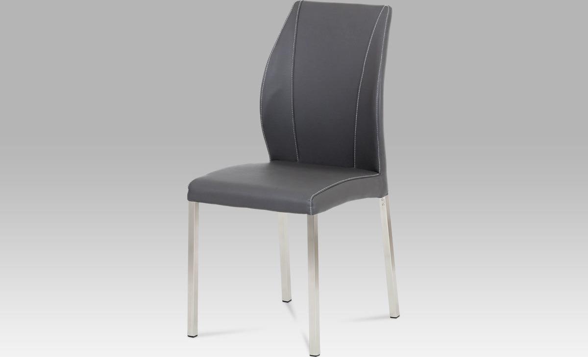 Artium Jídelní židle | koženka | broušený nerez Barva: šedá