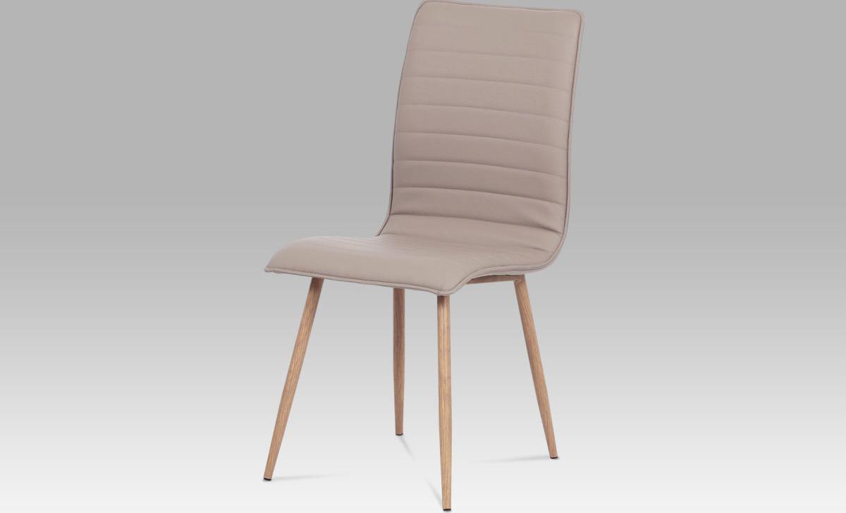 Jídelní židle látka | kov (dekor dub) Barva: lanýžová