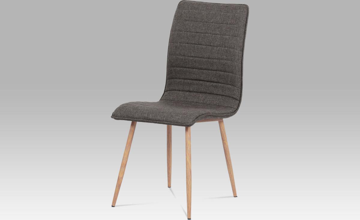 Jídelní židle látka | kov (dekor dub) Barva: hnědá