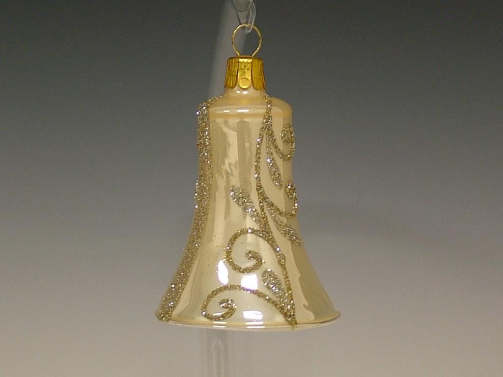 Slezská tvorba Skleněný zvonek | krémový porcelán | zlatý dekor