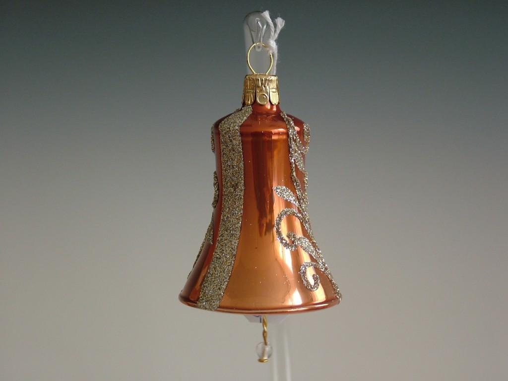Slezská tvorba Skleněný zvonek | skořicově hnědý porcelán | zlaté spirály