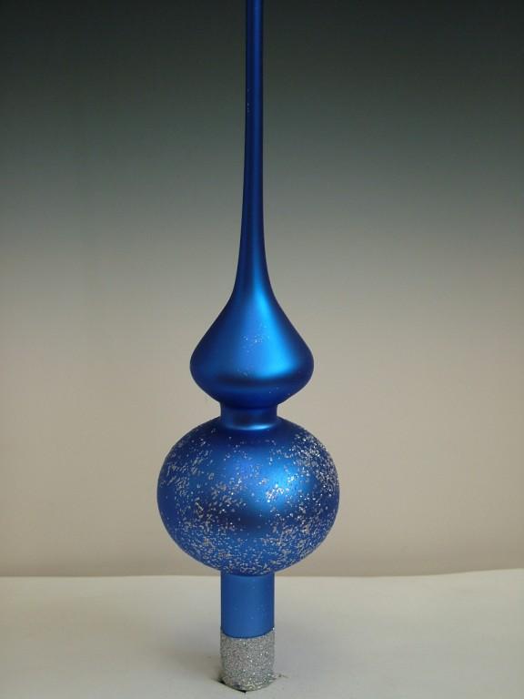 Slezská tvorba Skleněná špice | tmavě modrý mat | stříbrný dekor Velikosti: 6cm