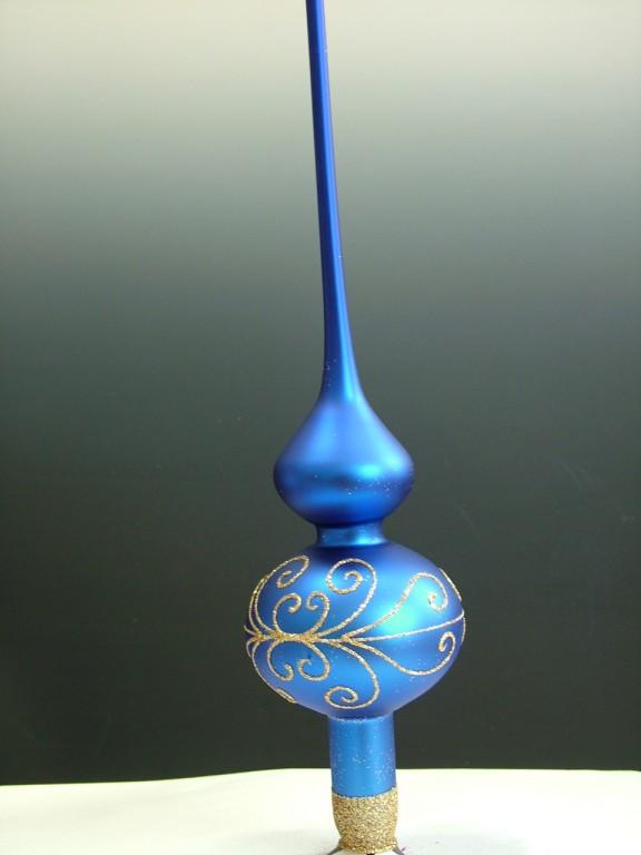 Slezská tvorba Skleněná špice | modrý mat | zlaté spirály Velikosti: 6cm