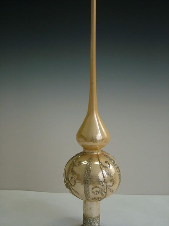 Slezská tvorba Skleněná špice | krémový porcelán | zlaté spirály Velikosti: 6cm