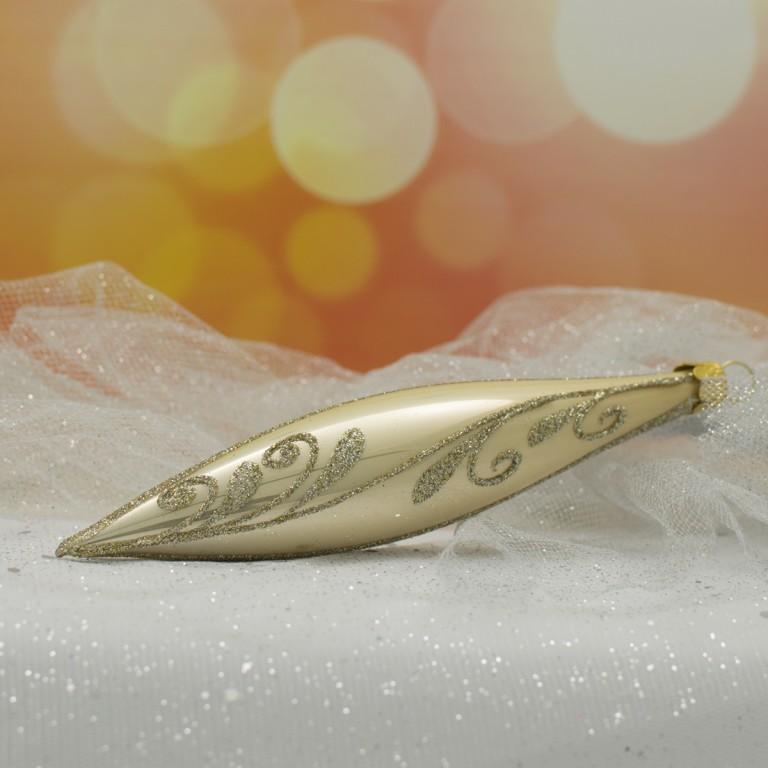 Slezská tvorba Skleněná raketa | krémový porcelán | zlatý dekor